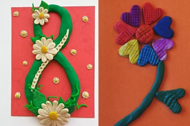 Цветок и восьмерка из пластилина