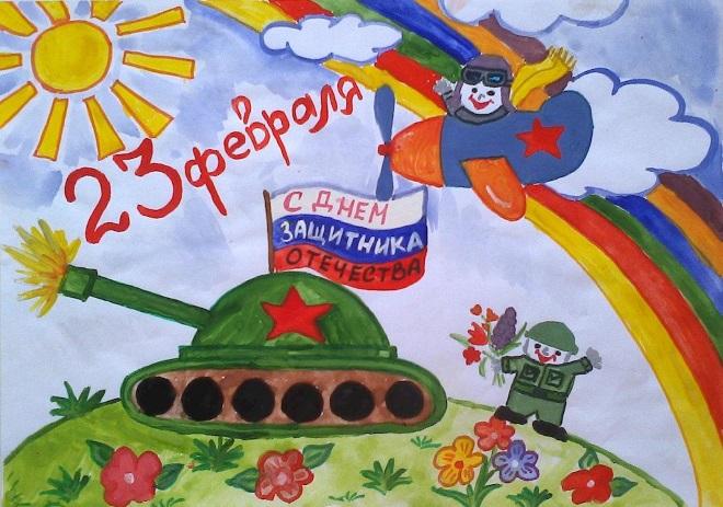 Рисунок красками танк и солдат