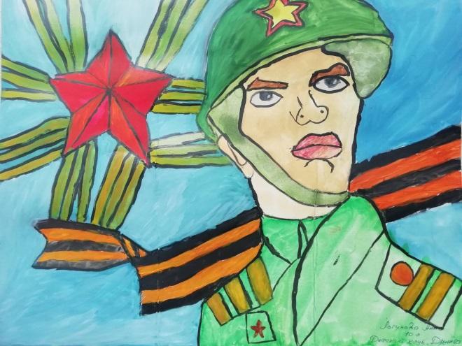 Солдат рисунок красками