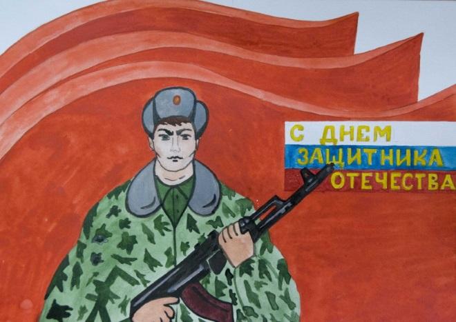 Солдат на фоне знамени