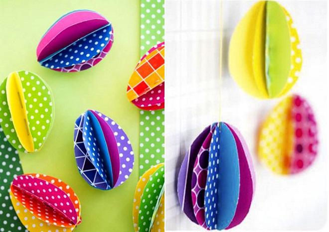 Объемные яйца из цветной бумаги