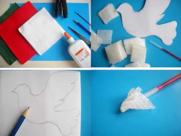 Вырезание голубя из бумаги