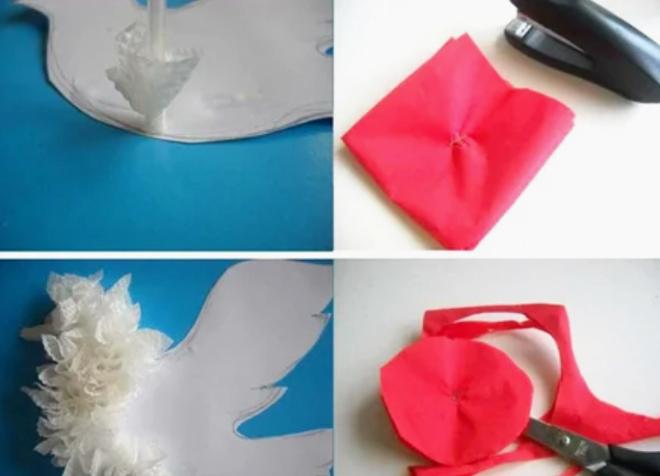 Голубь и гвоздика из бумаги