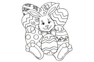 Заготовка открытки Кролик с яйцом