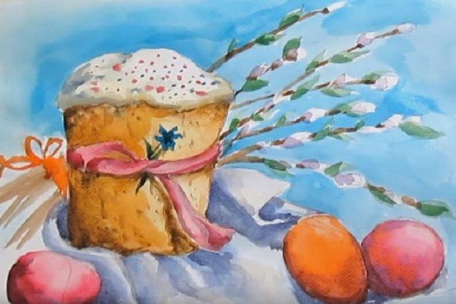 Рисунок гуашью на Пасху