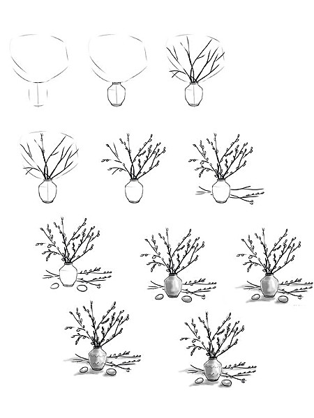 Схема рисования вербы