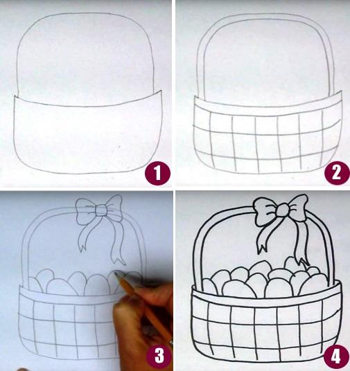 Рисунок корзины по шагам