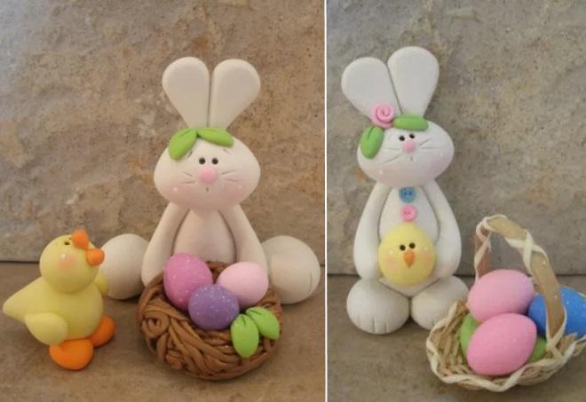 Кролики из пластилина