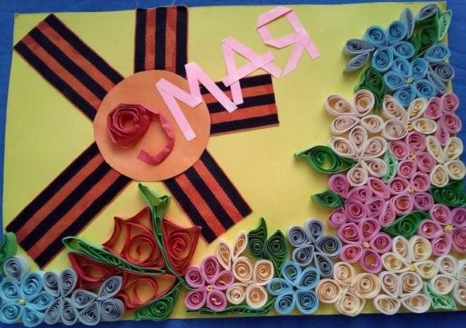 Цветочная композиция квиллинг на день победы
