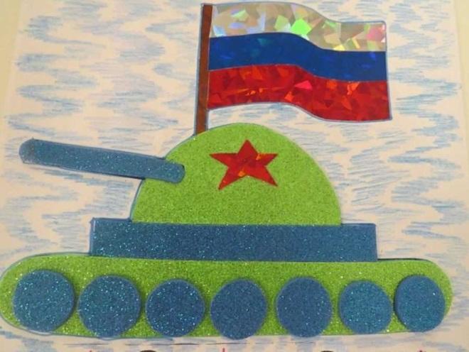Объемный танк на открытке