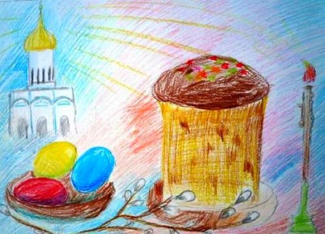 Кулич и яйца на фоне церкви
