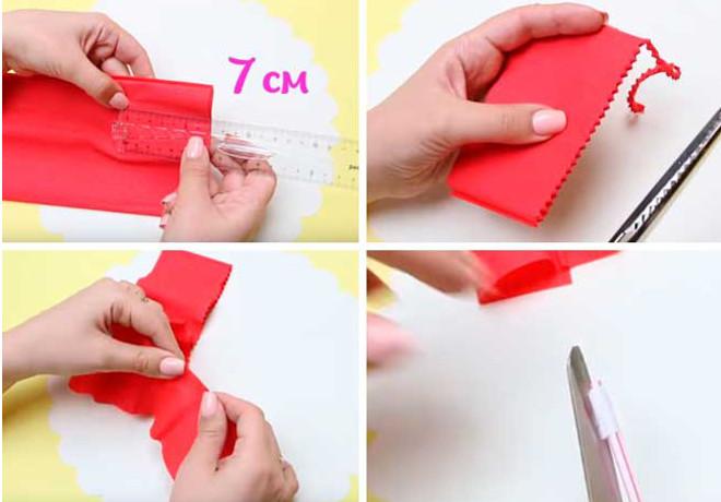 Заготовка гвоздики из гофрированной бумаги