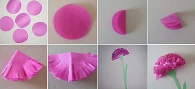Изготовление гвоздики из бумаги