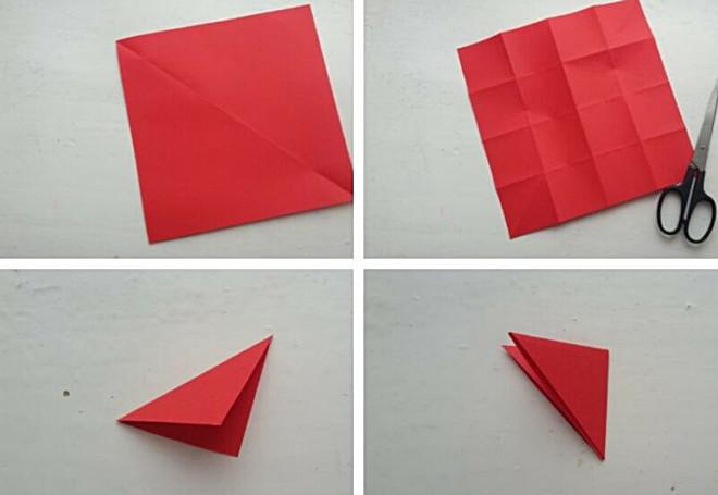 Складывание красной бумаги