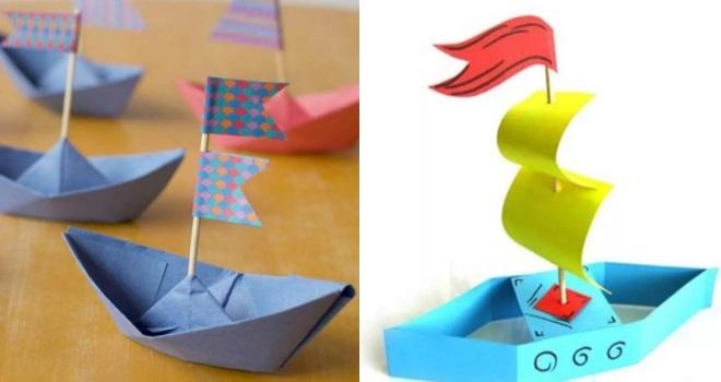 Кораблики из цветной бумаги