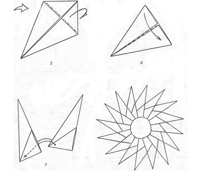Схема оригами Солнышко