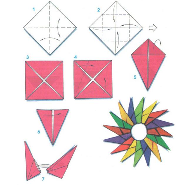 Солнышко оригами