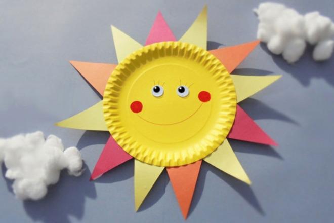 Солнышко из одноразовой тарелки