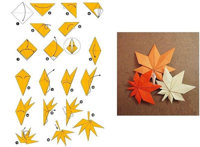 Схема листьев оригами