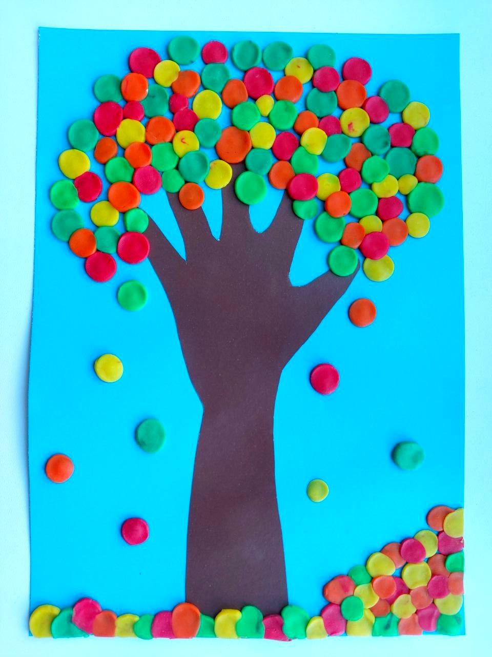 Аппликация дерево из пластилина